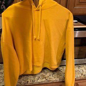 Yellow H&M Cropped Hoodie